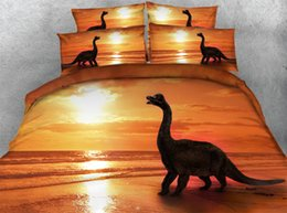 luxury super king beds Canada - 3pcs luxury golden ocean duvet cover set all kinds dolphin   dinosaur   mermaid ship bedding sets Single Queen Super king size