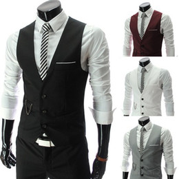 polyester vest pockets for men Canada - Vests For Men Slim Fit Mens Suit Vest Male Waistcoat Gilet Homme Casual Sleeveless Formal Business Jacket