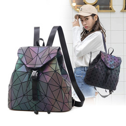 Chinese  2018 Luminous Backpack stitching Lattice Bag Men Women Backpack for Travel girl School Bag for Student's Backpack Hologram sac a dos manufacturers
