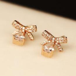 $enCountryForm.capitalKeyWord NZ - Hot Sale Water Drop Zircon Earrings for Women Korean Rose Gold Plated Vintage Bowknot Earrings Fashion Dangle Earrings Jewelry Accessories