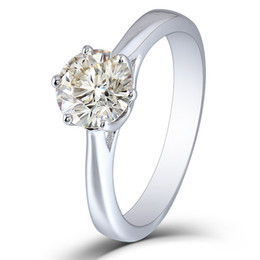 $enCountryForm.capitalKeyWord UK - TransGems 1 Carat 6.5MM Moissanite Engagement Ring Platinum Plated Sterling Silver Excellent Cut IJK Color for Women S923