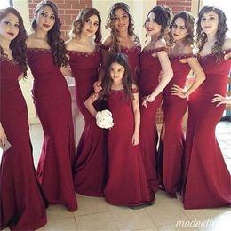 $enCountryForm.capitalKeyWord NZ - Dark Red Mermaid Bridesmaid Dresses Off Shoulder Sweep Train Beads Sweep Train Garden Country Arabic Wedding Guest Dress Plus Size 2018