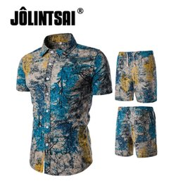Chinese  2018 New Arrival Summer Fashion Brand Cotton Linen Shirts+Shorts Sets Tracksuit Men Short Sleeve Printing Shirts 2 Color 5 Size manufacturers