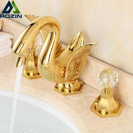 High End Swan Basin Sink Faucet Widespread Golden Deck Mounted Two Crystal  Handle Mixer Taps