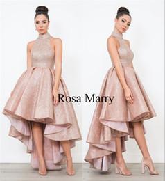 Vestidos de fiesta cortos con lentejuelas de oro rosa con lentejuelas 2018 Cuello alto Tallas grandes Alto Bajo Barato Chicas africanas Vestidos de fiesta de noche de desfile formal en venta