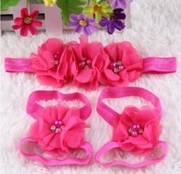$enCountryForm.capitalKeyWord Australia - 15 colors Wholesale children hand - sewn chiffon water drill bit flower belt foot flower suit baby wrist
