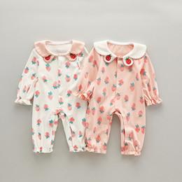 0ce21cf76 INS Baby girl clothing romper spring fall pet pan collar long sleeve  Strawberry print Design girl romper