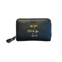 9b88de11c9938c Vananya Designer brand Genuine Leather purse Women Wallet short Coin Purse  Female blind for love bee Wallet Lady Purse For Girls Money Bag