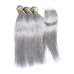 Gray bundles online shopping - Fairgreat Pre Colored Human Hair Bundles With Closure Bazilian Peruvian Straight Human Hair Bundles With Closure B Gray Ombre Color Hair