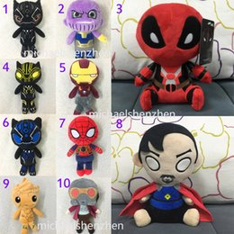 China 20CM(8inch) Avengers 3 Infinity War plush dolls 2018 New kids Thanos Iron Man spiderman deadpool 2 doctor Strange Black Panther toys B001 supplier men doll toys video suppliers