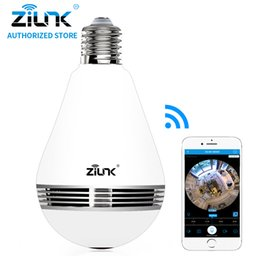 panorama ip camera 2019 - ZILNK New Mini Lamp Bulb Light WiFi Camera Fisheye 1080P HD Wireless IP Camera 360 Degree Panorama Lens Support 128GB TF