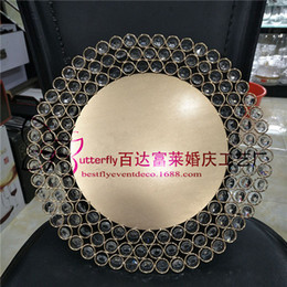 House Plates Australia - Gold Silver Metal Charger Plates with Crystal Beaded for Wedding Table Home decoration
