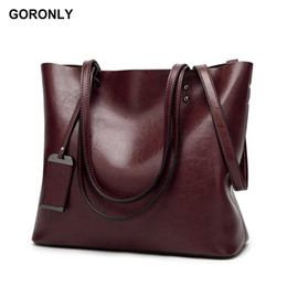 large brown crossbody bag NZ - GORONLY Brand New Leather Tote Bag Women Handbags Designer Large Capacity Shoulder Bags Fashion Lady Purses Crossbody Bag Bolsas