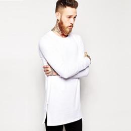 Oversized T Shirt Men Long NZ - Brand Extra Long Tee Shirt For Men Hip Hop Men 'S Longline T Shirt Long Sleeve Tall Tees Side Zipper Oversized T -Shirt