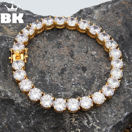 $enCountryForm.capitalKeyWord Australia - THE BLING KING 1 Row Round Cut CZ 8mm Tennis Bracelet Gold Silver Tone 22cm Copper Cubic Zirconia Mens hip Hop Jewelry