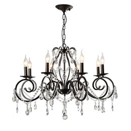 Bedroom Chandeliers Candles Australia - American chandelier living room crystal lamps restaurant country lights bedroom study lighting shop wrought iron black candle chandeliers