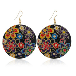 Hottest oil painting online shopping - designer jewelry circle round hoop earrings flowers oil painting charm earrings hot fashion free of shipping