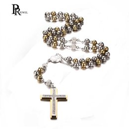 vintage crucifixes 2019 - Men's Women's Vintage Stainless Steel Jesus Christ Crucifix Cross Rosary Beads Pendant Necklace cheap vintage crucifixes
