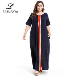 1ba442711 Medio Oriente Ropa Contraste Color Costura Falda larga Vestido suelto  Mujeres de gran tamaño Batas Musulmanes Vestido informal