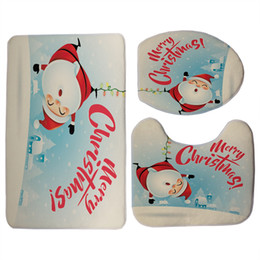 round seat covers Canada - Eco-Friendly Bath Mat Sets 3 Pieces Cartoon Merry Christmas Decorations For Home Santa Claus Snowman Pattern Toilet Seat Cover