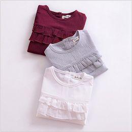 c2c4f30e0a95 Discount kids full long neck t shirt - Ins Baby Girls Flouncing Shirts  Girls Bubble Sleeve