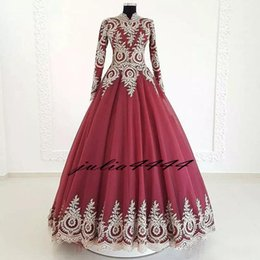 fd189ee7ca9e Charming Muslim Evening Dresses 2019 High Collar Lace Appliques A-line Prom  Dresses With Long Sleeves Formal Evening Wear