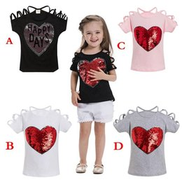 Tops Girl Shirt Design Australia - Girls Spring Summer T-shirt Kids solid color short sleeve tops Children Cotton Sequined design Children 4colors 5size