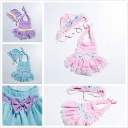 Fresh swimwear online shopping - Korean Style Cute Yarn Children s Halter Hanging Neck Swimwear Pink Swimsuit Sun Protection Three piece Swimsuits Fresh Sling Swimwear