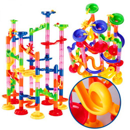 kids games educational UK - 105pcs Brand DIY Marble Race Run Maze Balls Track Building Blocks Kids Educational Construction Game Toys Gift