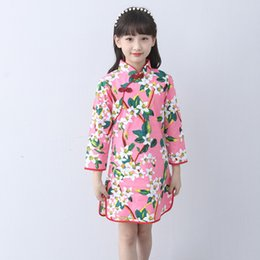 chinese clothes cheongsam Australia - Children Cheongsam Chinese Style Girl Costume Chinese Traditional Dress Oriental Cheongsam Long Sleeve 2018 New Girls Clothes