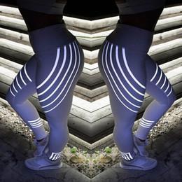 Sport Pants Wholesale NZ - women yoga fitness leggings workout pants breathable patchwork yoga pant sporting leggings Laser stripe printing luminescence