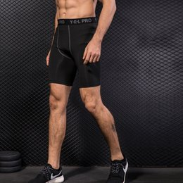 Wear Compression Shorts Australia - Men's Running Tight Short Pants Breathable Training Shorts Quick Dry Stretch Gym Wear Sporting Male Compression Calf Length