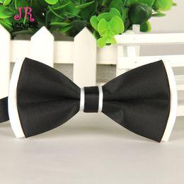Discount black shirt office men VDOGRIR Gentleman Black White Patchwork Double Bow Ties For Dress Shirt Decoration Men Women Adjustable Bow knot Wedding