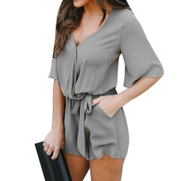 $enCountryForm.capitalKeyWord Australia - LAAMEI Women Short Sleeve Chiffon Jumpsuits 2018 New Summer Romper Overall With Belt Sexy V Neck Playsuit Office Lady Jumpsuit