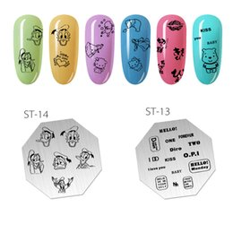 Cartoon Stamping NZ - 5.7cm Octagon Nail Art Stamp Stamping Plates Template Set Cute cartoon animal pattern alphabet Lace Image Manicure Plate
