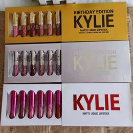 Chinese  hot Kylie Jenner holiday & Birthday&Valentine's day Edition Lip Kit Matte Liquid Lipsticks 6pcs set mini kylie lipgloss kit dhl free manufacturers