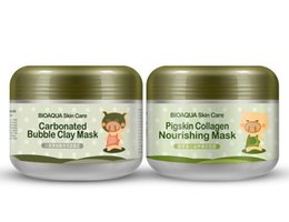 Pig Face Masks Australia - BIOAQUA pig carbonated bubble clay Mask 100g remove black head acne Shrink pores face care facial sleep mask Free shopping