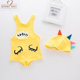 Swimwear Infant Australia - NYAN CAT Baby boy swimsuit cartoon dinosaur swimwear +hat infant toddler kids children spa vacation swimming pool clothing set