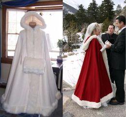 Blue Cotton Cloak Australia - Romantic Real Image 2018 Hooded Bridal Cape Ivory White Long Wedding Cloaks Faux Fur For Winter Wedding Bridal Wraps Bridal Cloak Plus Size