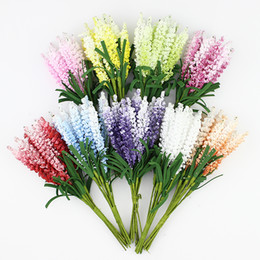 Flower For decoration wholesale online shopping - Artificial Lavender flower Bouquet Multicolor foam flowers for wedding wreath Scrapbook decoration