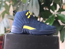 Mesh Fiber Australia - 2018 Best 12 RTR Michigan NRG PSNY 12S Men Basketball Shoes Best Collego Navy Amarillo BQ3180-407 Real Carbon Fiber Sports Shoes Size 40-47