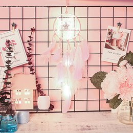 $enCountryForm.capitalKeyWord Australia - Wedding Decoration LED Wind Chimes with Feather Handmade Dreamcatcher Net Wall Hanging Party Gift Home Decoration Ornament