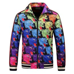 Tiger Print Ribbon NZ - High End Men Designer Outfits Jackets Outwear Man Fashion Casual Zipper Coat Colorful Tiger Head Print