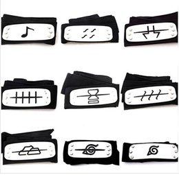 naruto costume cosplay black Australia - 11 styles ANIME Naruto Headband Leaf Village Logo Konoha Kakashi Akatsuki Members Cosplay Costume Accessories blue red black TO792