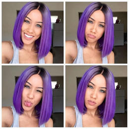 PurPle ombre hair black women online shopping - Ombre Purple Wigs Short Bob Synthetic Lace Front Wig Full Glueless Natural Black Purple Heat Resistant Hair Women Wigs Short Bobo Hair