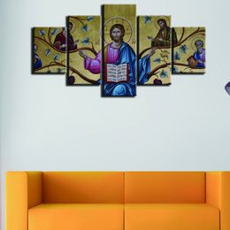 $enCountryForm.capitalKeyWord UK - Fashion Canvas Printed Painting Modern Wall Art Jesus Oil Picture 5 Pcs set Home Office Room Decorative Painting Without Frame Artwork