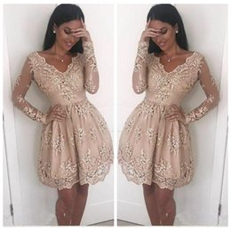 $enCountryForm.capitalKeyWord Australia - 2018 Sexy V neck Lace Cocktail dresses Illusion Long Sleeves A line Appliques Short Mini Homecoming Party Prom Dress Gowns