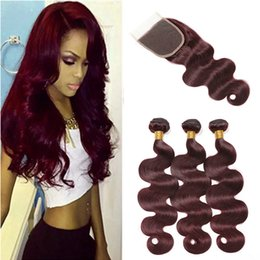 $enCountryForm.capitalKeyWord Australia - Rainbow Queen 99J Burgundy Body Wave Brazilian Hair Weave Bundles With Lace Closure Wine Red Virgin Hair Weaves With 4*4 Closure Body Wave