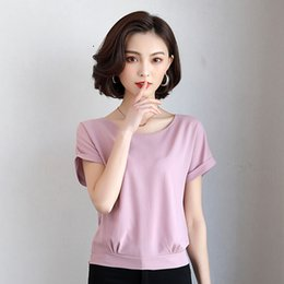 chiffon fan 2019 - Plus Size 2018 New Summer Women Shirts Short Sleeve Chiffon Han Fan Blouse Shirt Taro Purple 940 discount chiffon fan
