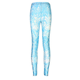 bb5198d354 Elastic Casual Pants 3D Digital Printing Blue flowers and birds Pattern  Women Leggings 7 sizes Fitness Clothing Free Shipping